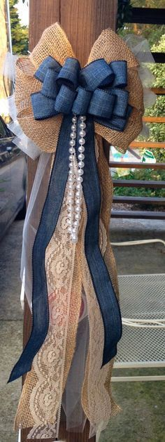 Denim Burlap Lace & Pearl Rustic Wedding Bow / http://www.himisspuff.com/country-rustic-wedding-ideas/