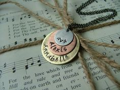 Custom Hand Stamped Mixed Metals Stamped Mommy Necklace by MyBella. $34.00, via Etsy.