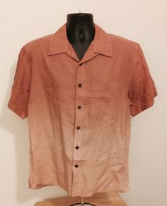 Mens The Territory Ahead 100% Linen SS Button Front Shirt Sz M Size M Orange S  #TheTerritoryAhead #ButtonFront