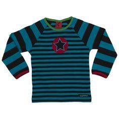 Villervalla kids clothing - t-shirt l/s STRIPES DRK AQUA/LICORICE