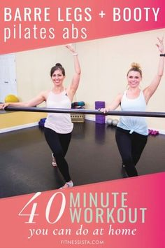 This is a collection of barre workouts that you can use while you're traveling, working out at home, or looking to change things up at the gym. Lots of video workouts here, too! All you need is a mat and a pair of light dumbbells. | Barre Workouts | The Fitnessista | Pilates Abs, Pilates Training, Pilates Video, Pilates Workout, Barre Workouts, Ballet Barre Workout, Dance Exercise, Beginner Pilates, Belly Workouts