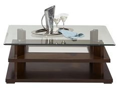 Progressive Furniture Delfino Castered Cocktail Table, Burnished Cherry