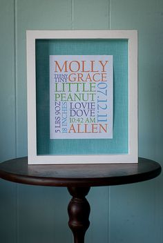 FRAMED Baby Birth Announcement Typography Wall  Art  5 x 7 - Keep your baby's birth info up to remind you of that special day!