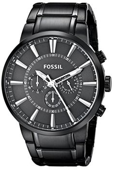 Be the epitome of modern style with this sleek quartz men's watch by Fossil. The matted bracelet strap highlights the large black dial that is framed with a polished slim bezel. The silver hands and markers on the display allow for easy time reading. Black Stainless Steel, Stainless Steel Watch, Fossil Watches For Men, Women's Watches, Wrist Watches, Horse Watch, Automatic Watch, Link Bracelets, Chronograph
