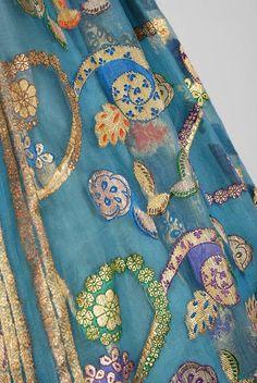 1950's Sophie Gimbel Metallic Turquoise Paisley Indian-Silk Full Party Dress 4