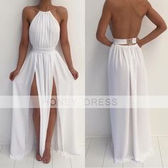 Prom Dresses Boho, White Chiffon Prom Dresses Long A-line Backless Formal Gowns Two Side Slit Evening Dresses Sexy Party Dresses for Teens Girls Shop prom dresses Boho,such as beading prom pieces prom dresses,chiffon prom dress,lace prom dresses Open Back Prom Dresses, Backless Prom Dresses, Sexy Dresses, Cute Dresses, Beautiful Dresses, Dress Long, Elegant Dresses, Bridesmaid Dresses, Wedding Dresses