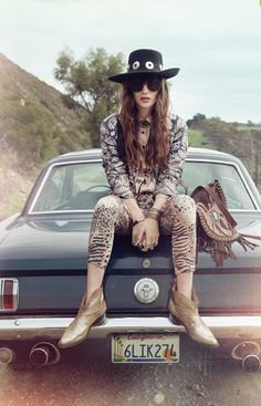 Wild at heart: Bendito Pie Spring Campaign Fashion Shoot, Editorial Fashion, Boho Fashion, 66 Mustang, Classic Mustang, Stay Weird, Easy Rider, Car Girls, Wild Hearts