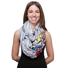 $25 This Marvel Comics Lightweight Infinity Scarf features a bunch of black and white comic book panels with the Marvel logo plus the floating, disembodied heads of Thor, Spider-man, Loki, Captain America, the Hulk, Nova, Hawkeye, & Iron Man as pops of color.