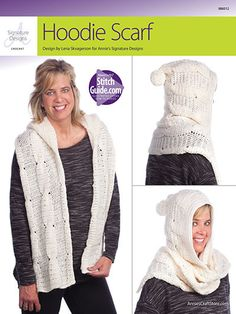 "AA886012 - Hoodie Scarf - $5.99 Stitch a hooded scarf using 4 skeins of Premier® Yarns Deborah Norville Alpaca Dance. This beautiful cabled scarf is made using double crochets, back and front post double crochet and front post trebles. Size: 9 1/2""W x 70""L, not including fringes. Skill Level: Intermediate http://www.maggiescrochet.com/collections/new/products/hoodie-scarf"