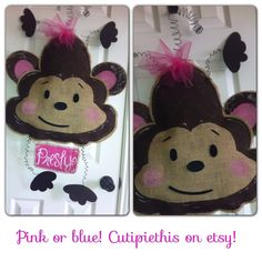 Monkey Baby door hanger monkey  baby shower by Cutipiethis on Etsy
