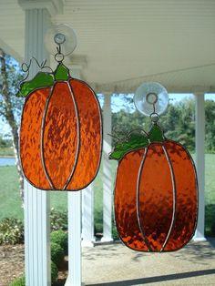 Stained Glass Two Orange Pumpkin Suncatchers.
