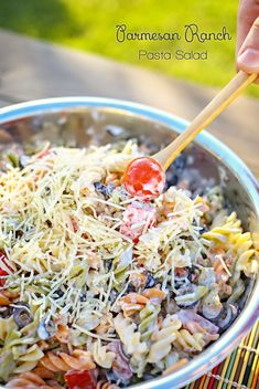 Parmesan Ranch Pasta Salad -A simple, quick & delicious side dish. on kleinworthco.com