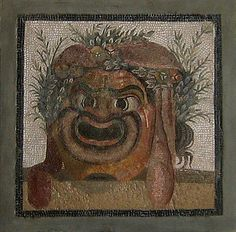 Mosaic: comic mask of a crowned slave. Roman, c. 2nd century CE. Berlin, Pergamon Museum. Credits: Ann Raia, 2005