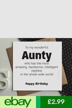 Cards & Stationery Home, Furniture & DIY Birthday Card For Aunt, Birthday Cards, Happy Birthday, Funny Greeting Cards, Funny Cards, Party Ideas, Gift Ideas, Auntie, Celebrations