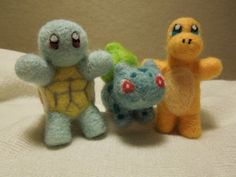 3D Squirtle, Bulbasaur, & Charmander made out of felt through the process of needle felting. (Pokemon)