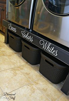 This is a super cute idea for an organized laundry room. Raise your machines and put baskets underneath.