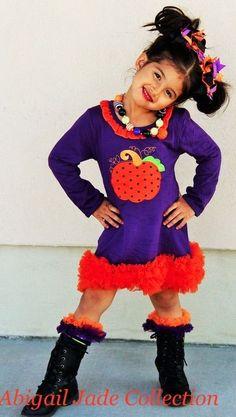 Boutique Purple Pumpkin Ruffle Infant Toddler Dress Abigail Jade Collection #Boutique #HalloweenDressyEverydayHoliday