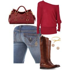 Cranberry Fall- Emerson Edwards jeans are the perfect base to any fall outfit, but the color of this off the shoulder sweater compliments the wash of these jeans perfectly. Add a dark leather boot and bag and you're on the way to falling head first in love! Find them today at 14665.vaultdenim.com!