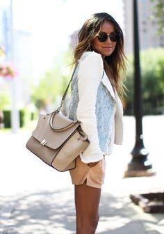 Rebecca Taylor jacket - J Brand Leather shorts - Theory pullover - Raen sunglasses #fashion #styling #chic