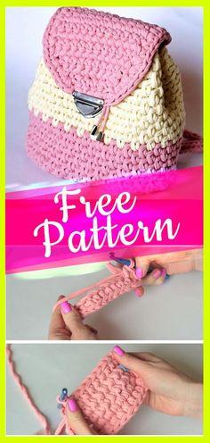 Free Pattern Crochet Backpack Tutorial #freecrochetbag