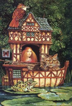 """THE TUDOR HOUSEBOAT"" . . . James Christensen"
