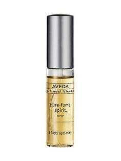 """I have been using Aveda's """"pure fume"""" Spirit for years and get compliments on it all the time. It has no harsh chemicals and smells like a day at the spa. You can choose from a wide selection of blends and they will make it for you custom, on the spot. My fav is #6 which is the fragrance of their iconic Shampure shampoo."""