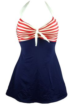Cocoship Navy Blue & Red White Striped Vintage Sailor Pin Up Swimsuit One Piece Skirtini Cover Up, Modest swim dress . Looks great on anyone! Available as plus size swimsuit too
