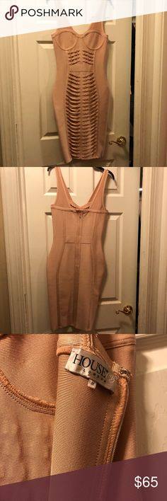 House of CB Bandage Dress House of CB pale pink bandage dress  Never worn Amazing details  High quality stretch material  Size medium House of CB Dresses Midi