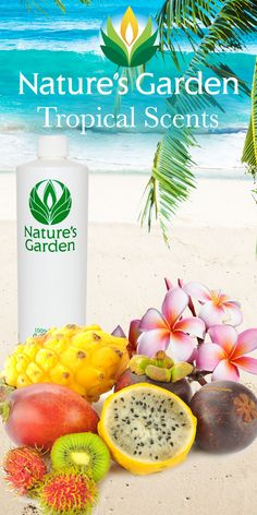 Amazing tropical fragrance oils by the world renowned Natures Garden Fragrance Oils.  These fragrances are typically used to make candles, soap, cosmetics, room scent, and bath and body products. #tropicalscents