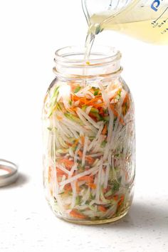 Pickled Vegetables Here's a recipe for Vietnamese (quick) Pickled Vegetables using carrots, cucumbers and daikon radishes.Here's a recipe for Vietnamese (quick) Pickled Vegetables using carrots, cucumbers and daikon radishes. Vietnamese Pickled Vegetables, Quick Pickled Vegetables, Pickled Veggies Recipe, Pickling Vegetables, How To Pickle Vegetables, Vietnamese Pickle Recipe, Vietnamese Food, Chinese Pickles Recipe, Korean Pickled Radish