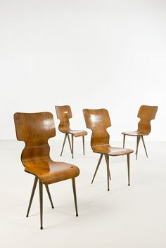 Anonymous; Cherry Plywood and Brass Chairs, 1950s.