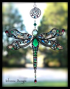 Wire Wrapped Dragonfly Multi Gemstone Cubic Zirconia and