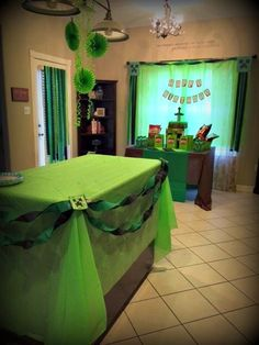 Well we are all set up for the Minecraft party tonight.   Lord help me because my husband is away with his cookoff team and I am going to b...