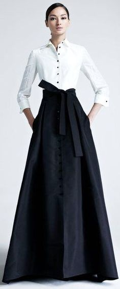 maybe a black blouse top with the white heart buttons and a white taffeta skirt from my dress? H.