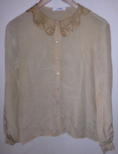Vintage GLORIA SACHS for I MAGNIN Silk Blouse with Lace Collar #IMAGNIN #Blouse