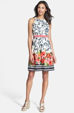 Eliza J Floral Print Cutaway Bodice Stretch Cotton Fit & Flare Dress (Regular & Petite) available at #Nordstrom