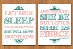 Let Her Sleep For When She Wakes And Though She Be But Little She is Fierce Nursery Wall Art Set of Two Coral, Teal (67) on Etsy, $25.00
