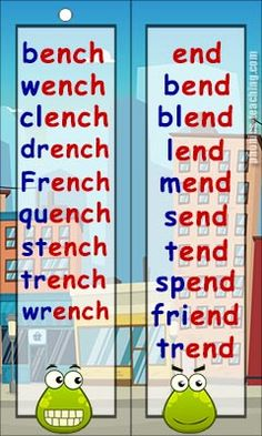 ench and end word list - FREE & Printable - Ideal for Phonics Practice and Phonics Revision Phonics Chart, Phonics Flashcards, Phonics Worksheets, Phonics Activities, Physical Activities, Phonics Reading, Teaching Phonics, Jolly Phonics, Reading Comprehension