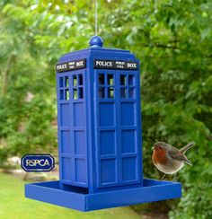 Dr Who Tardis or British Police Box - Garden Bird Feeder with RSPCA Seed Sample