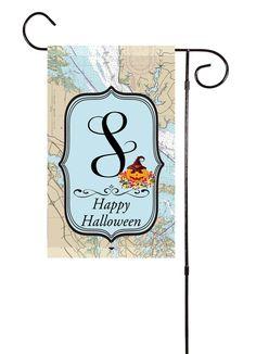Happy Halloween - Initial Nautical Garden Flag