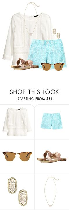 """Loving my Lilly shorts☀️🌴"" by flroasburn ❤ liked on Polyvore featuring H&M, Ray-Ban, Jack Rogers and Kendra Scott"