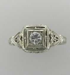 Ladies 18 Karat White Gold Diamond Filigree by PattyHansenGallery, $850.00