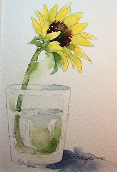 水彩的繪畫RoseAnn海耶斯:向日葵在水玻璃