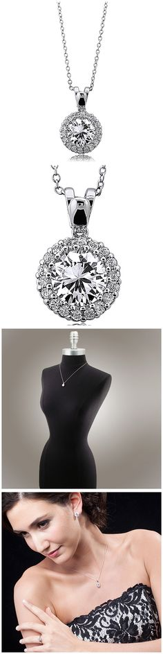 Sterling Silver Round CZ Halo Fashion Necklace