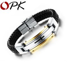 OPK Vintage Leather Wrap Bracelet For Man Fashion Handmade Knitted Bangle Black/Gold Plated Full Steel Cross Men Jewelry PH916