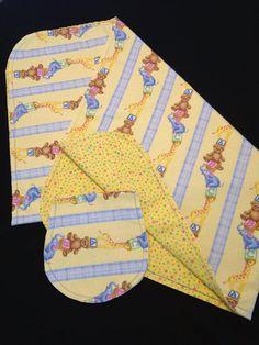 ABC/'s teddy bear reversible 40 x 36 Blue Baby boy Hemstitch Receiving blanket /& burp cloth crochet flannel shower gift bunny lamb