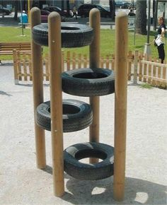 Play equipment for the kids and reusing those old tires we have in t… Tire climb. Play equipment for the kids and reusing those old tires we have in the shed. Natural Playground, Backyard Playground, Backyard For Kids, Playground Ideas, Playground Design, Modern Backyard, Backyard Toys, Inside Playground, Wood Playground