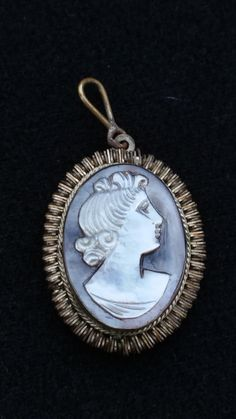 BCA cameo pendant - mother of pearl cameo - cameo pendant - female cameo - vintage cameo - Victorian revival - vintage jewelry by SteamyAntiquities on Etsy