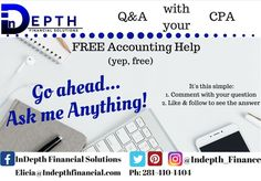 Ever had a financial question? Wish you could talk to a CPA for free? Leave a question. Get an answer! Accounting Help, Ask Me Anything, Financial Tips, Personal Finance, Budgeting, This Or That Questions, Free, Budget Organization