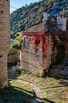 Kapesovo in Autumn - Zagoria, Epirus, Greece Beautiful World, Beautiful Places, Porches, Myconos, Greek Isles, Greece Travel, Macedonia, Athens, National Parks
